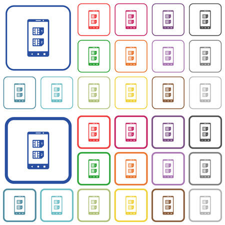 Dual SIM mobile color flat icons in rounded square frames. Thin and thick versions included. Illustration