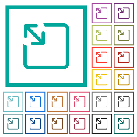 Resize object flat color icons with quadrant frames on white background