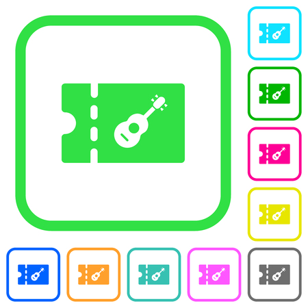 Instrument shop discount coupon vivid colored flat icons in curved borders on white background Illustration