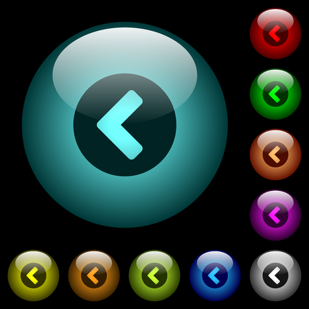 Chevron left icons in color illuminated spherical glass buttons on black background. Can be used to black or dark templates