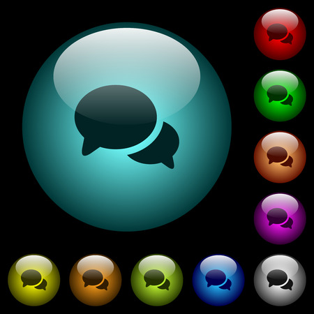 Discussion icons in color illuminated spherical glass buttons on black background. Can be used to black or dark templates 일러스트