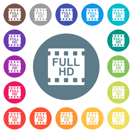 Full HD movie format flat white icons on round color backgrounds. 17 background color variations are included.