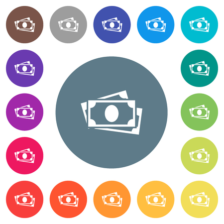More banknotes flat white icons on round color backgrounds. 17 background color variations are included.