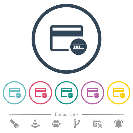 Verifying credit card flat color icons in round outlines. 6 bonus icons included.