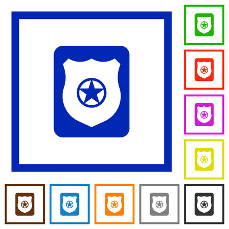 Police badge flat color icons in square frames on white background