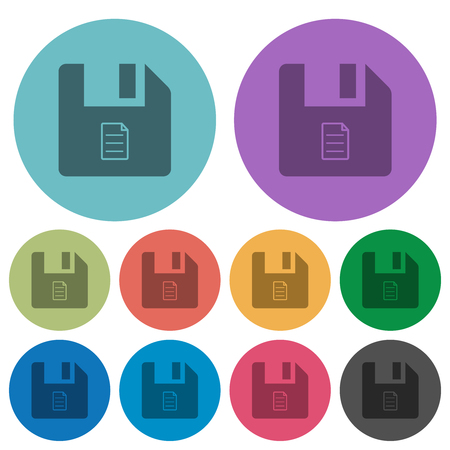 File properties darker flat icons on color round background