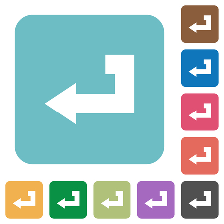 Return key white flat icons on color rounded square backgrounds
