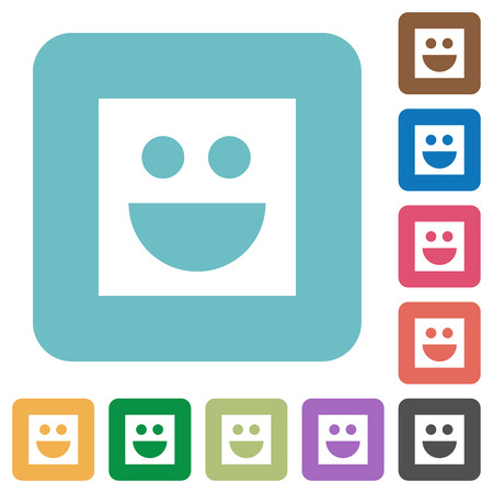 Smiley white flat icons on color rounded square backgrounds