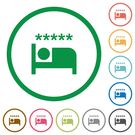 Luxury hotel flat color icons in round outlines on white background 일러스트