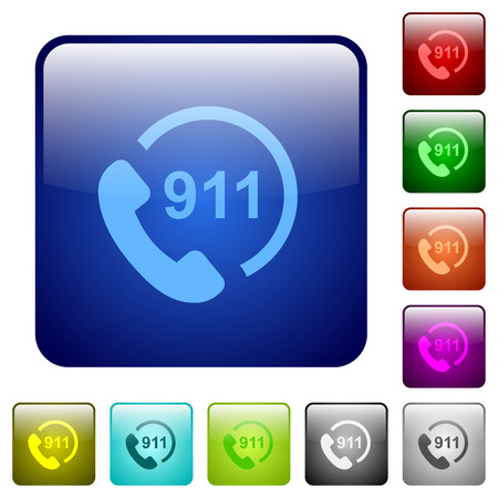 Emergency call 911 icons in rounded square color glossy button set