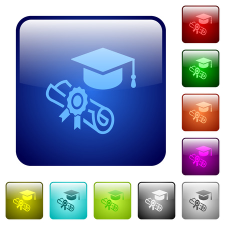 Graduation ceremony icons in rounded square color glossy button set