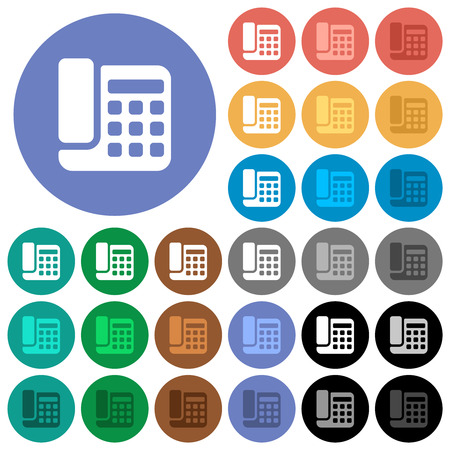 Office phone multi colored flat icons on round backgrounds. Included white, light and dark icon variations for hover and active status effects, and bonus shades.