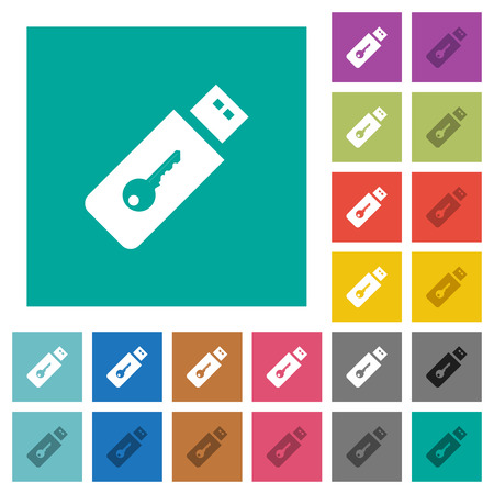 Hardware key multi colored flat icons on plain square backgrounds. Included white and darker icon variations for hover or active effects.