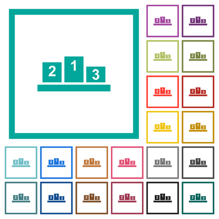 Winners podium with inside numbers flat color icons with quadrant frames on white background Ilustrace