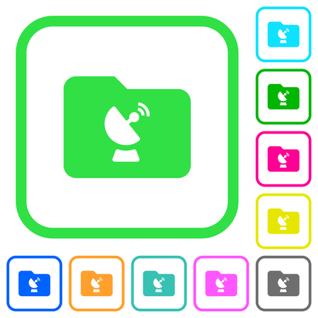 Remote folder vivid colored flat icons in curved borders on white background
