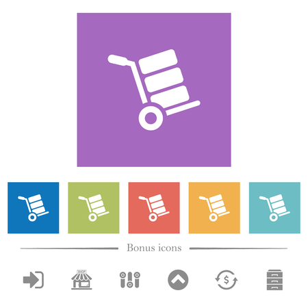 Hand truck with boxes flat white icons in square backgrounds. 6 bonus icons included. Illustration