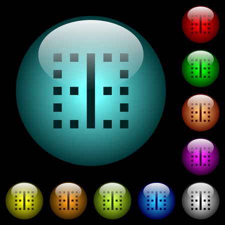 Vertical border icons in color illuminated spherical glass buttons on black background. Can be used to black or dark templates