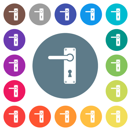 Left handed door handle with screws flat white icons on round color backgrounds. 17 background color variations are included.