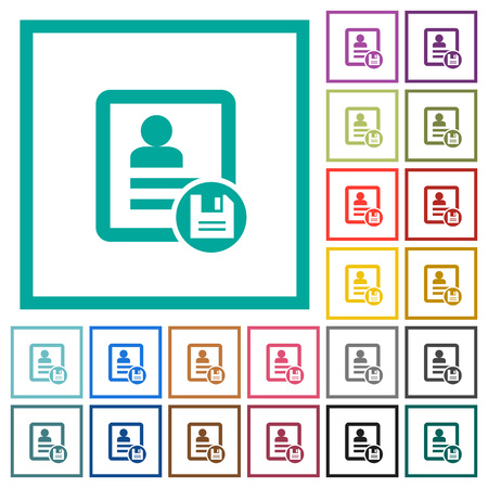 Save contact changes flat color icons with quadrant frames on white background Ilustracje wektorowe