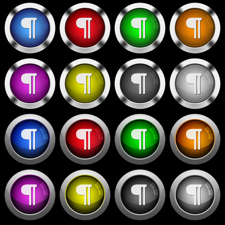 Text paragraph white icons in round glossy buttons with steel frames on black background. The buttons are in two different styles and eight colors.