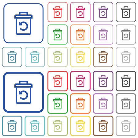 Undelete color flat icons in rounded square frames. Thin and thick versions included. Illustration