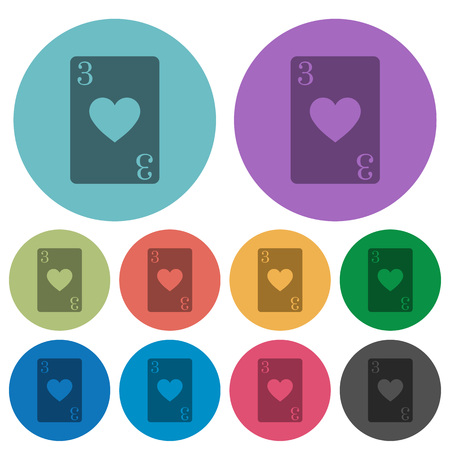 Three of hearts card darker flat icons on color round background