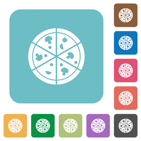 Pizza white flat icons on color rounded square backgrounds