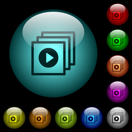 Play files icons in color illuminated spherical glass buttons on black background. Can be used to black or dark templates