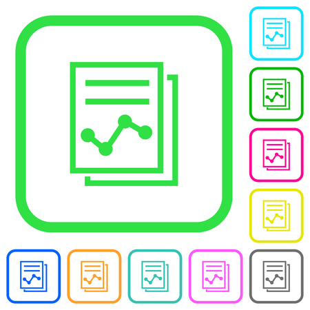 Report with graph vivid colored flat icons in curved borders on white background