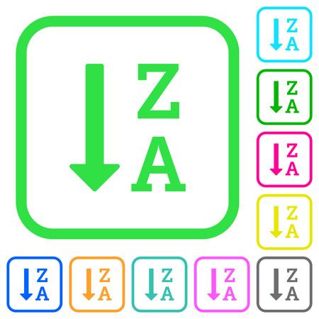 Lista ordenada alfabéticamente descendente iconos planos de colores vivos en bordes curvos sobre fondo blanco Ilustración de vector