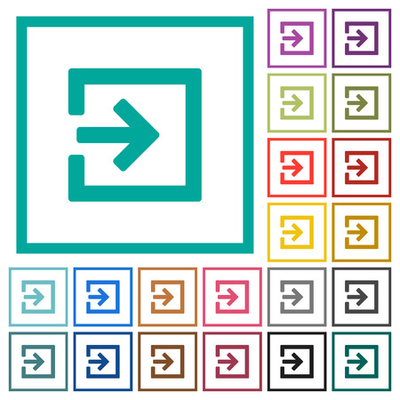 Import with inside arrow flat color icons with quadrant frames on white background