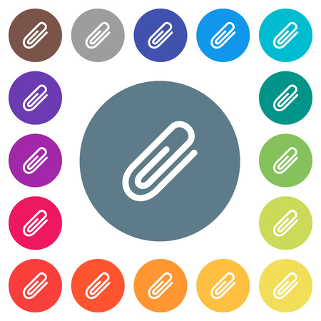 Attachment flat white icons on 17 round color backgrounds Illusztráció