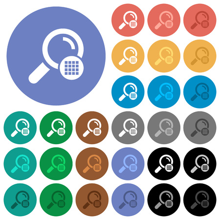 Arrange search results multi colored flat icons on round backgrounds. Included white, light and dark icon variations for hover and active status effects, and bonus shades on black backgounds. Stock Illustratie