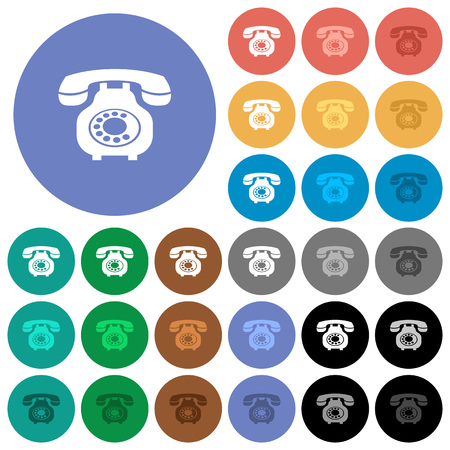 Vintage retro telephone multi colored flat icons on round backgrounds. Included white, light and dark icon variations for hover and active status effects, and bonus shades on black backgounds. Illustration