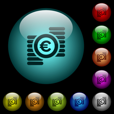 Euro coins icons in color illuminated spherical glass buttons on black background. Can be used to black or dark templates