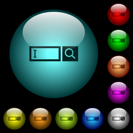 Search box with cursor icons in color illuminated spherical glass buttons on black background. Can be used to black or dark templates Ilustração