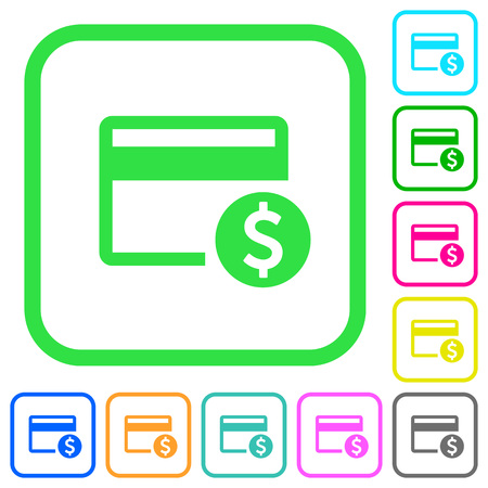 Dollar credit card vivid colored flat icons in curved borders on white background