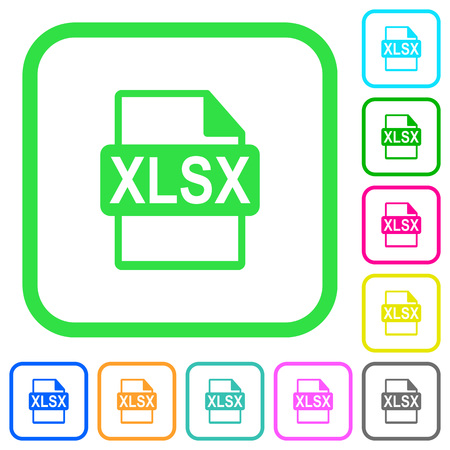 XLSX file format vivid colored flat icons in curved borders on white background