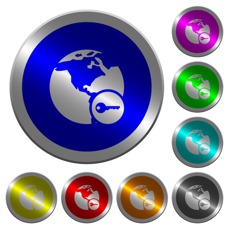 Secure internet surfing icons on round luminous coin-like color steel buttons