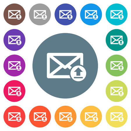 Sending email flat white icons on round color backgrounds. 17 background color variations are included.