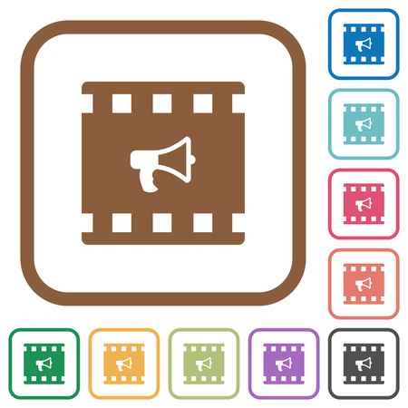 Movie director simple icons in color rounded square frames on white background Çizim