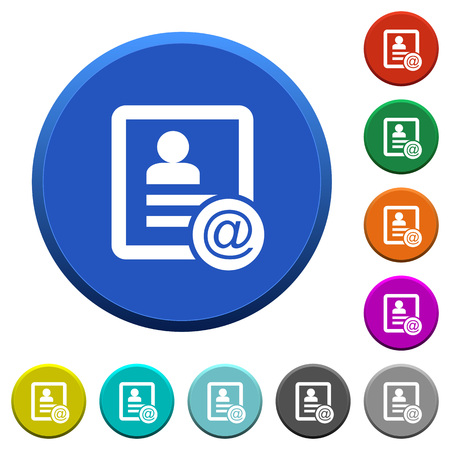 Contact email round color beveled buttons with smooth surfaces and flat white icons