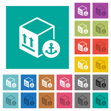 Sea package transportation multi colored flat icons on plain square backgrounds. Included white and darker icon variations for hover or active effects.