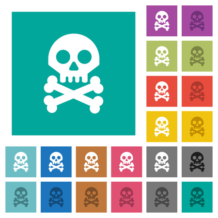 Skull with bones multi colored flat icons on plain square backgrounds. Included white and darker icon variations for hover or active effects.