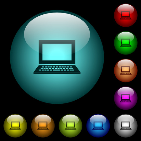 Laptop with blank screen icons in color illuminated spherical glass buttons on black background. Can be used to black or dark templates