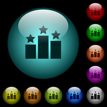 Ranking icons in color illuminated spherical glass buttons on black background. Can be used to black or dark templates