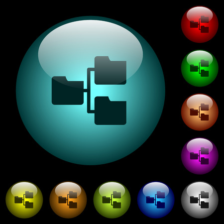 Shared folders icons in color illuminated spherical glass buttons on black background. Can be used to black or dark templates