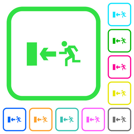 Exit sign vivid colored flat icons in curved borders on white background Vectores