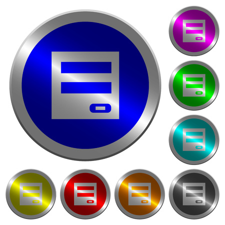 Login panel icons on round luminous coin-like color steel buttons