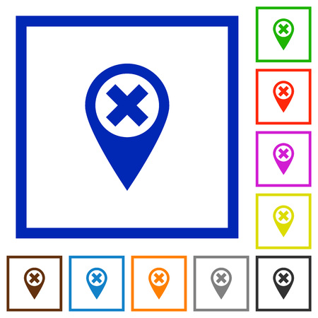 Cancel GPS map location flat color icons in square frames on white background